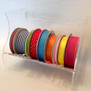 PETITE or ORIGINAL Ribbon Roll Control Holder Acrylic Storage System Stackable