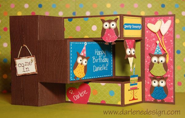 TriFold Shutter Owl Party Card Inside By Darlenedesign  At