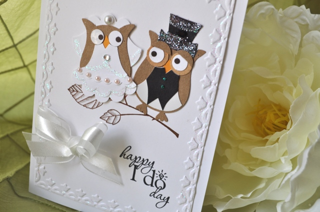 owl punch art wedding card by beverly t
