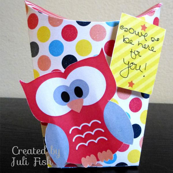 Owl be there standing pillow box by jubeefish at for Owl pillow box template