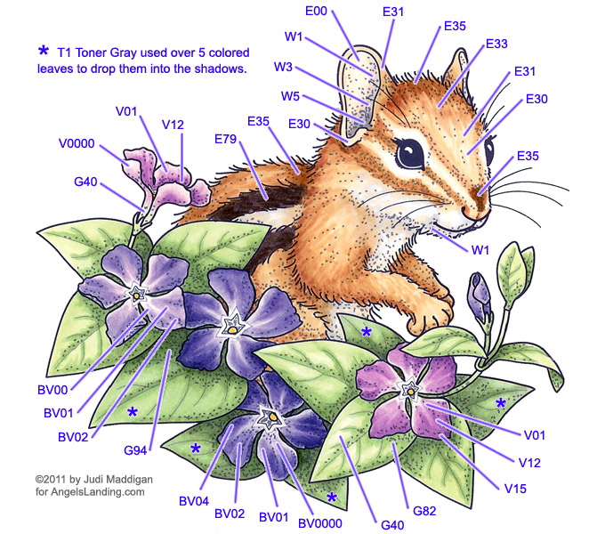 Copic Coloring Guide: Chipmunk & Vinca by Crafts - at ...