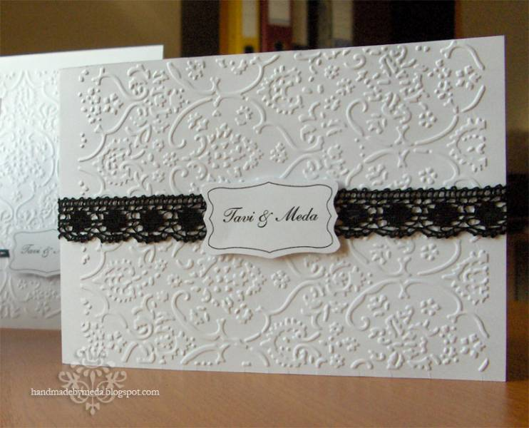 Elegant White Wedding Invitation With Black Lace By Tmdesign