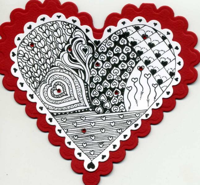 Heart Zentangles by mlnapier - Cards and Paper Crafts at ...