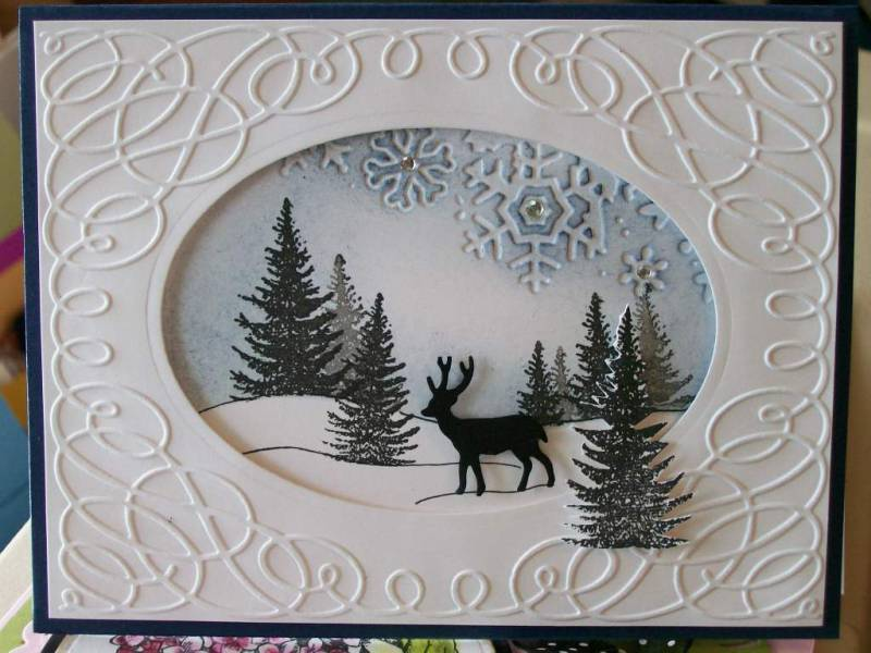 Ic252 f4a32 window snow scene by jaydekay at Christmas card scenes to paint
