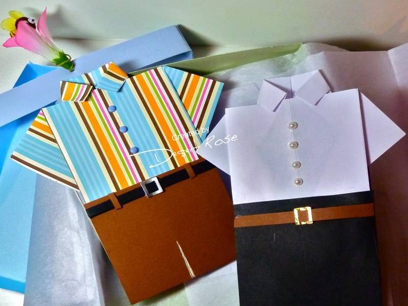 Fathers Day Origami Folded Shirt Cards In A Box