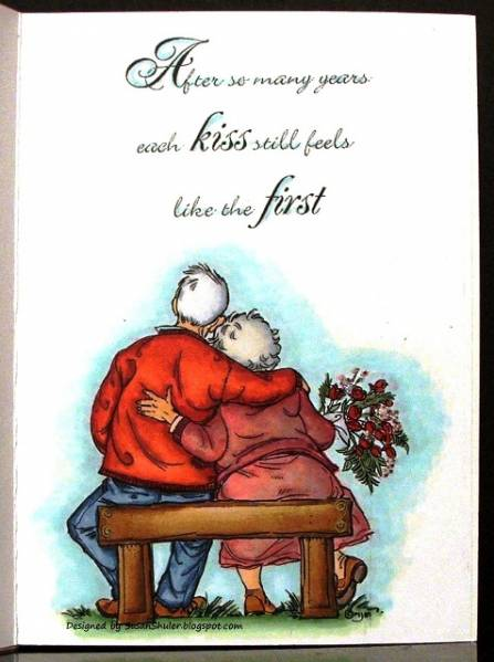 First kiss happy th wedding anniversary inside of card by auntie susan at splitcoaststampers
