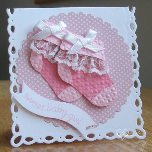 Homemade Baby Gift Ideas Pinterest : Pretty in pink baby booties by darbaby at splitcoaststampers