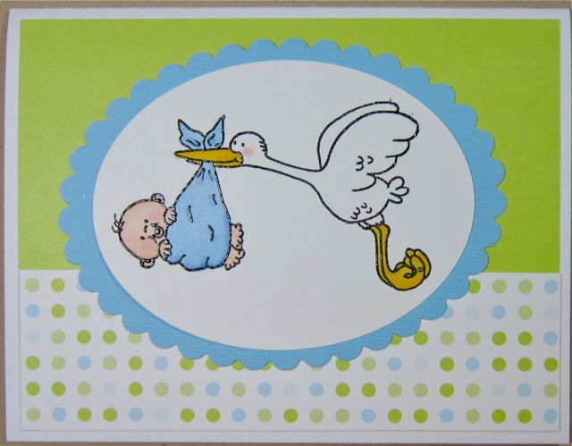 Stork Carrying Baby Boy By Hawkeye Stamper At