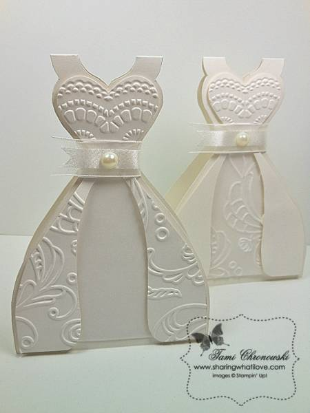 how to make a paper wedding dress for a card