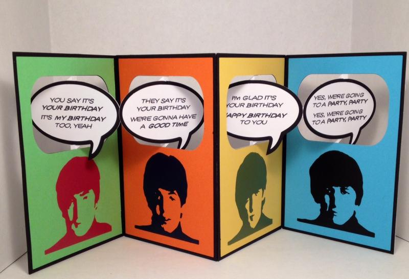 You Say Its Your Birthday Beatles Accordion Card By Karjor At