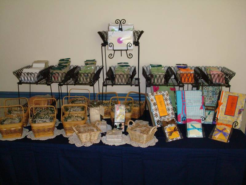 Craft show display practice setup by dhb1281 at for How to make display shelves for craft show