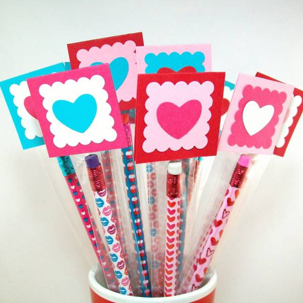valentine pencil treat bags toppers